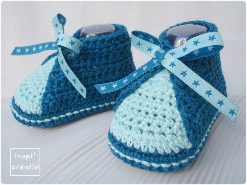 Tuto chaussons b b au crochet crochet booties socks - Tuto chausson bebe couture ...