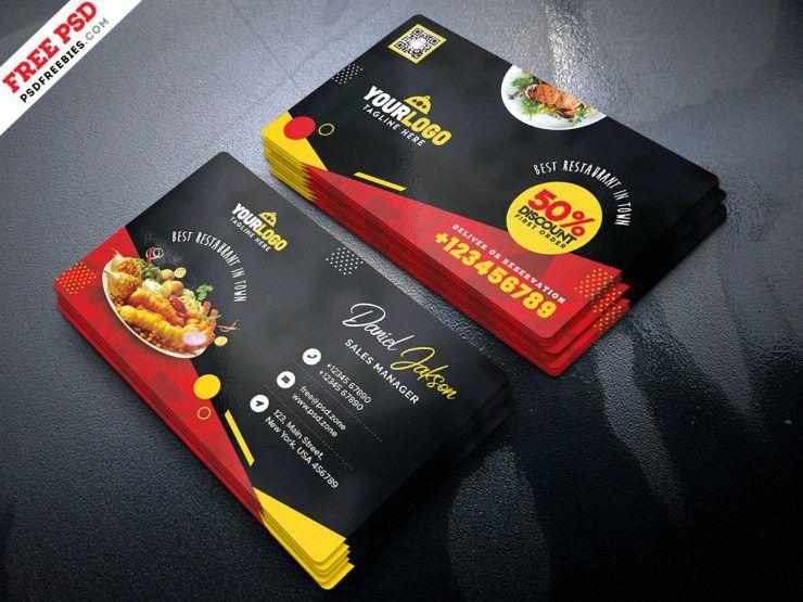 Fast Food Restaurant Business Card Psd Psdfreebies Com Food Business Card Restaurant Business Cards Food Business Card Design