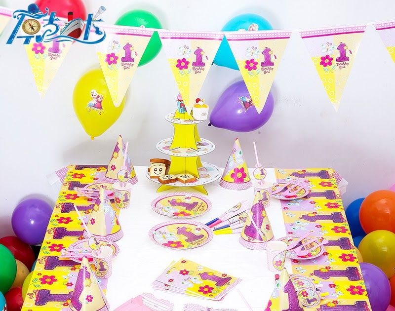 92pcs Set 12 People 1 Year Girl Birthday Party Decoration