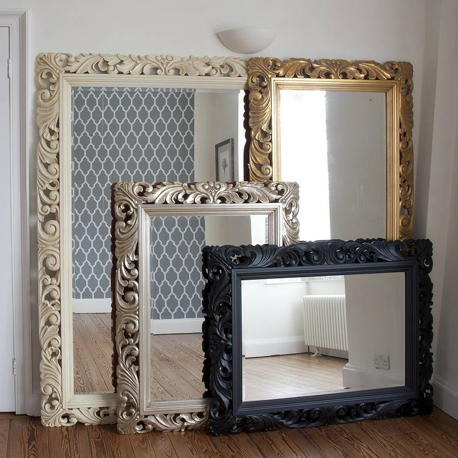 Hand Carved Wooden Mirror Frame