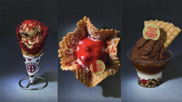 Stranger Things Baskin Robbins Ice Cream: Eleven's Heaven, Demogorgon Sundae, Upside Down Pralines -