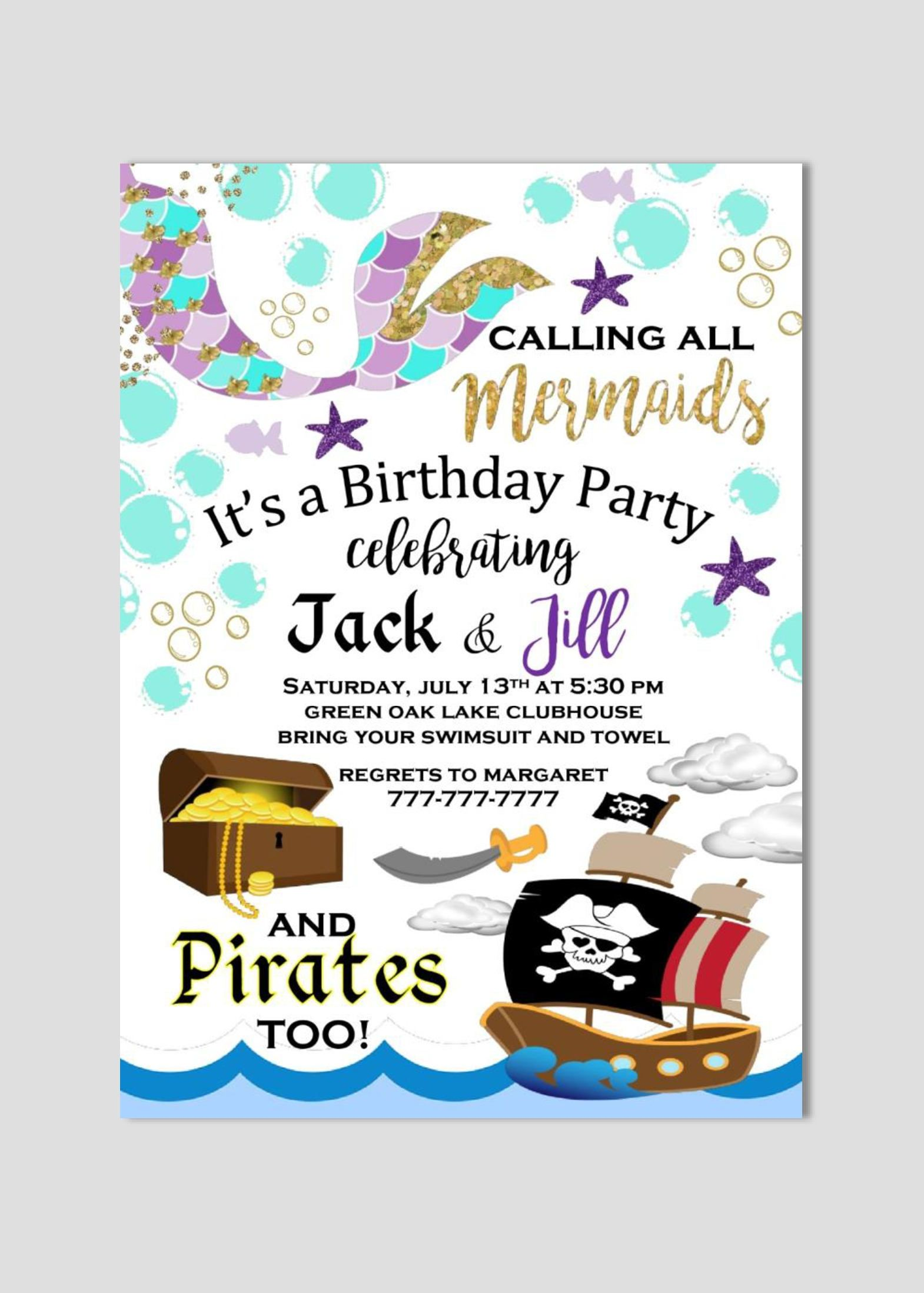 Mermaid and Pirate Birthday Invitation | Twin Invitation | Boy and ...