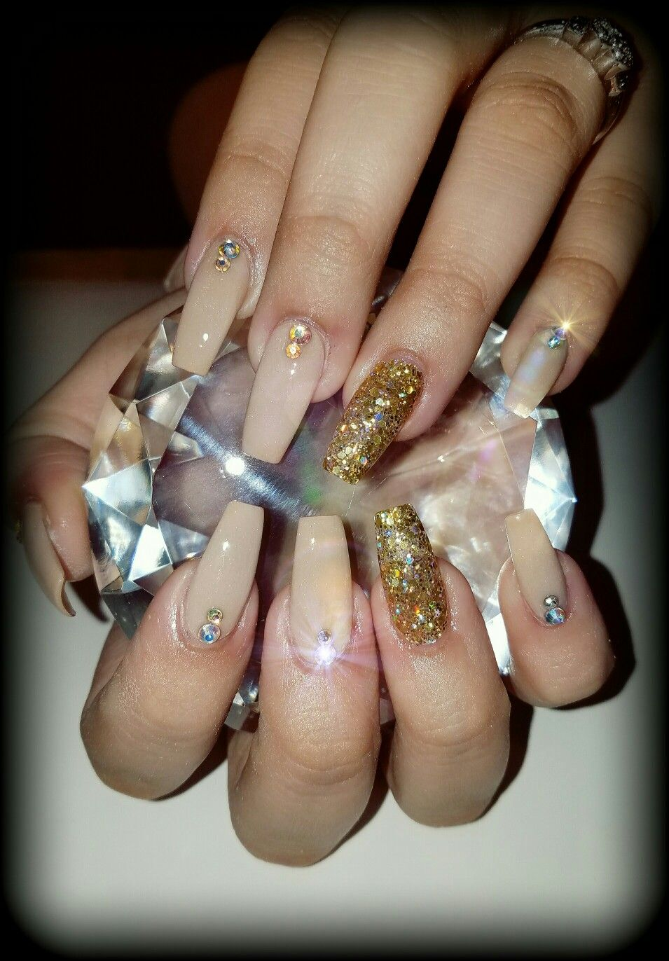 Nude gold and rhinestones coffin nails | Flirtatious Nails | Pinterest