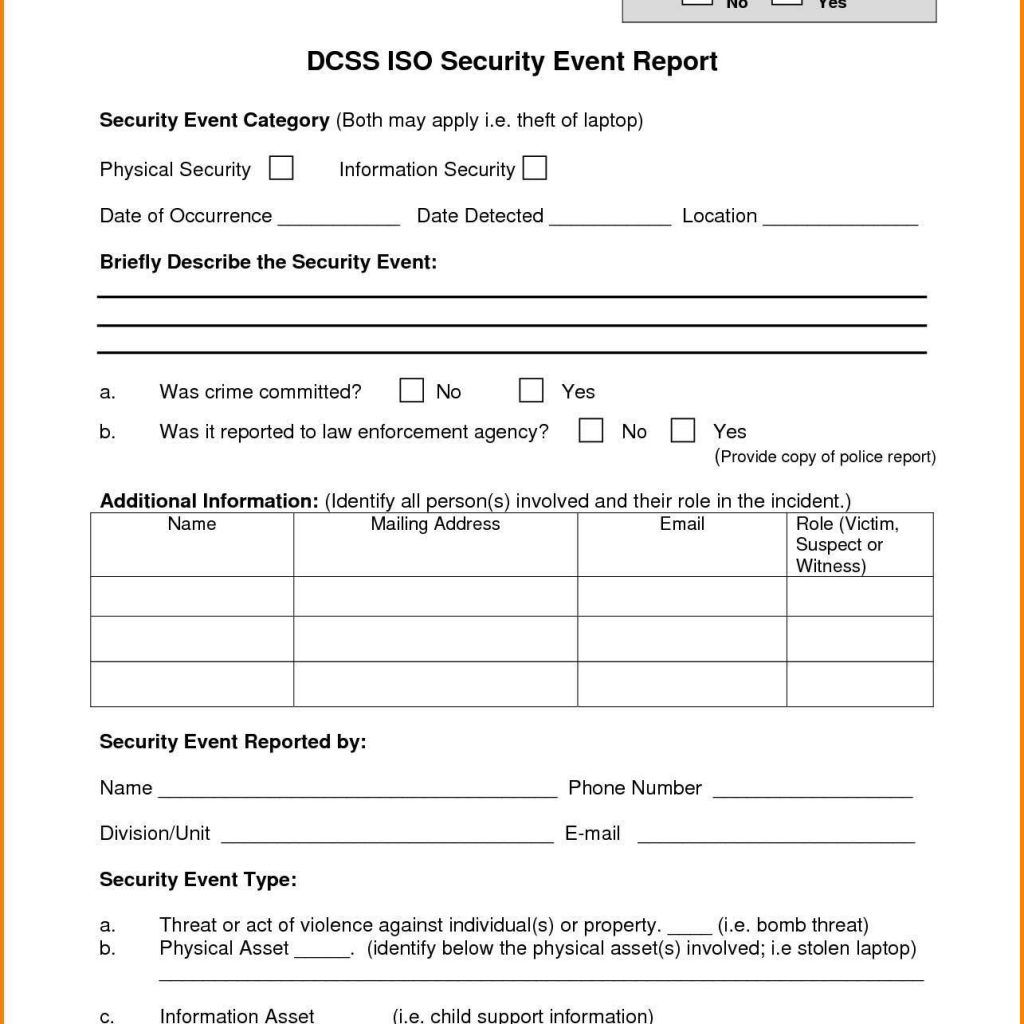 It Security Incident Report Template Incident Report Incident Report Form Security Report It incident report template word