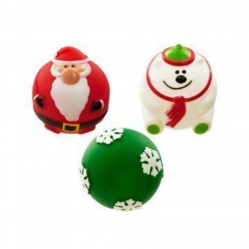 Holiday Dog Squeaky Ball Toy 3 Pack Red Santa Claus White