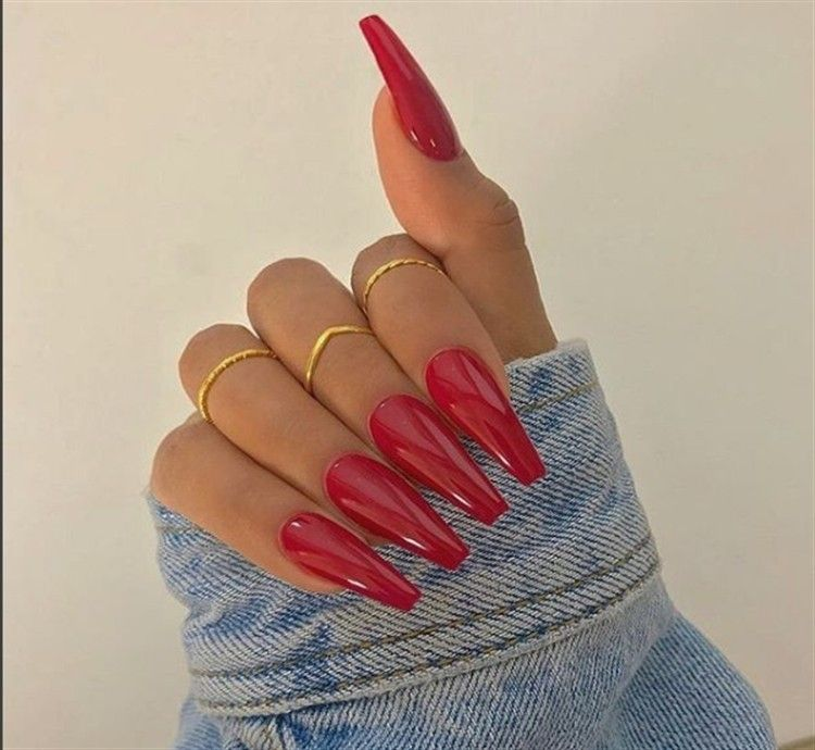 30 Pretty Red Acrylic Nail Art Design Ideas Fashonails Coffin Shape Nails Red Acrylic Nails Coffin Nails Long