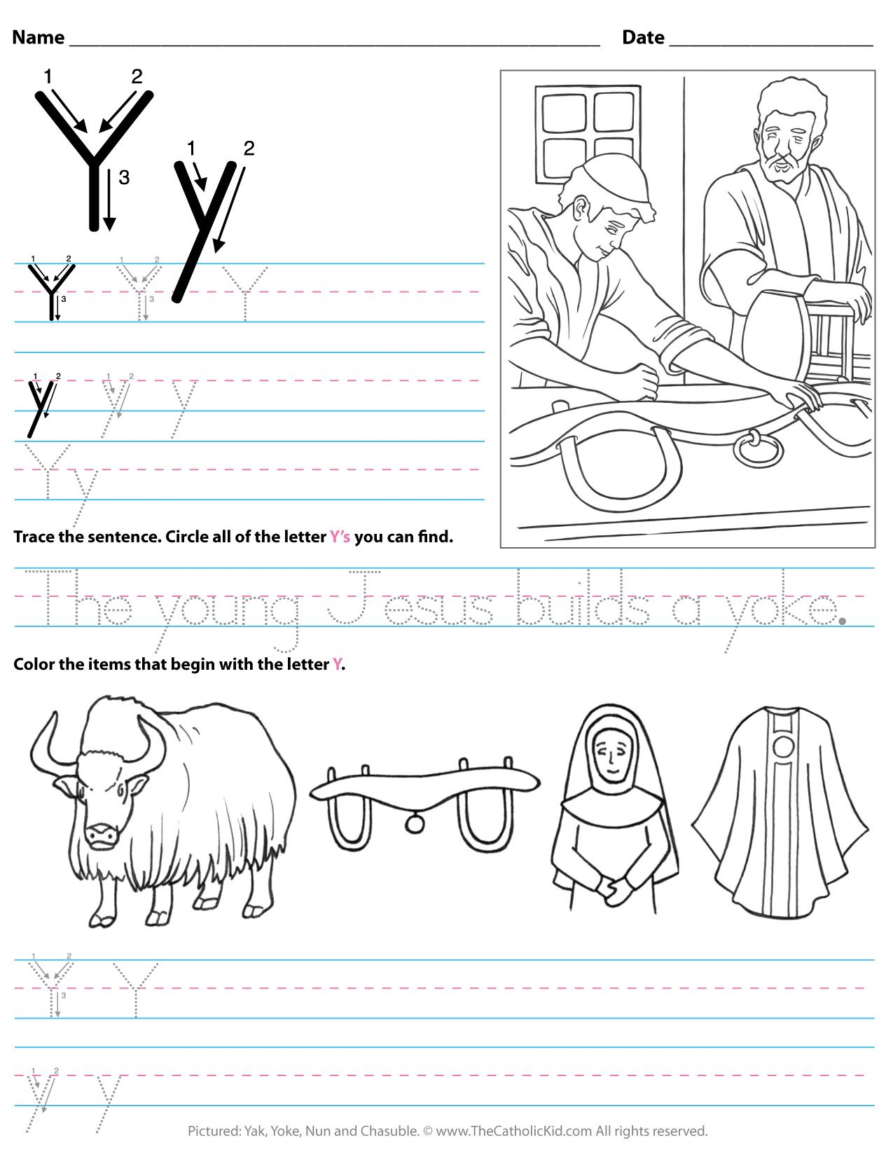 Catholic Alphabet Letter Y Worksheet Preschool