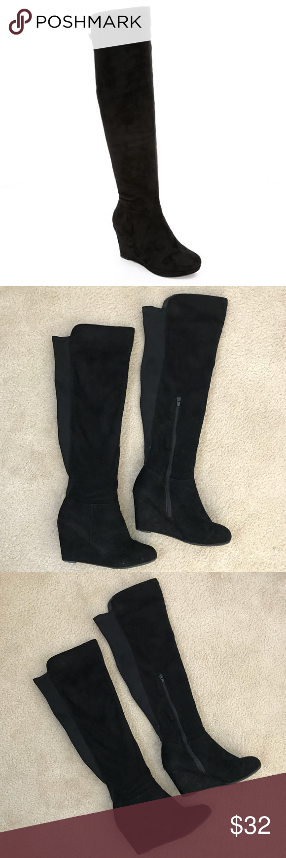 """6571310e6af Chinese Laundry Lulu Over the Knee Boots in Black Faux suede side zip over  the knee boots in black. 3.5"""" wedge heel. Elastic back for comfortable fit."""