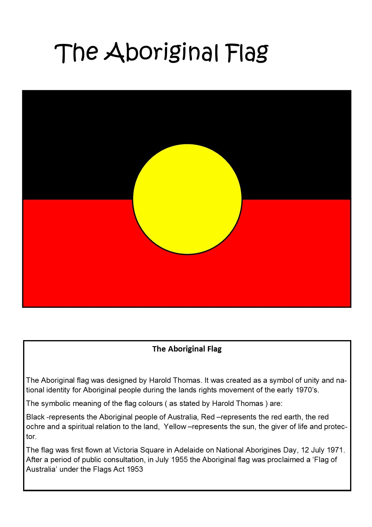 Australian Aboriginal Flag Teaching Resource