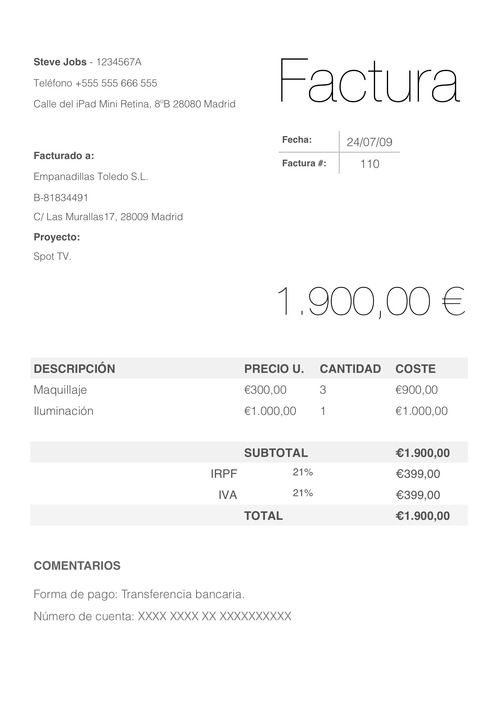 Plantilla Factura En Numbers Mac Modelo Factura Plantilla