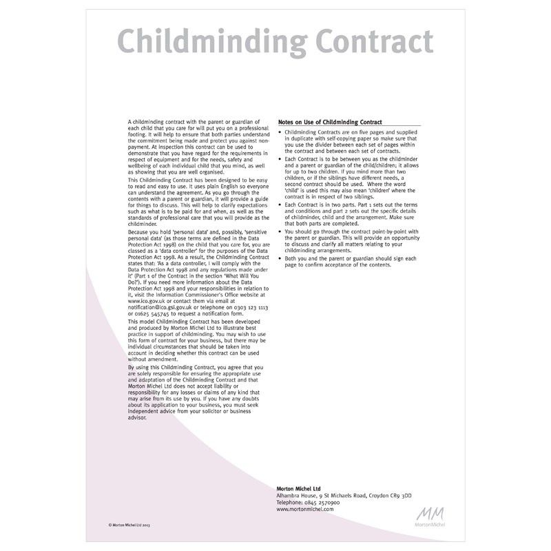 Childminding Contracts A childminding contract with the parent or ...