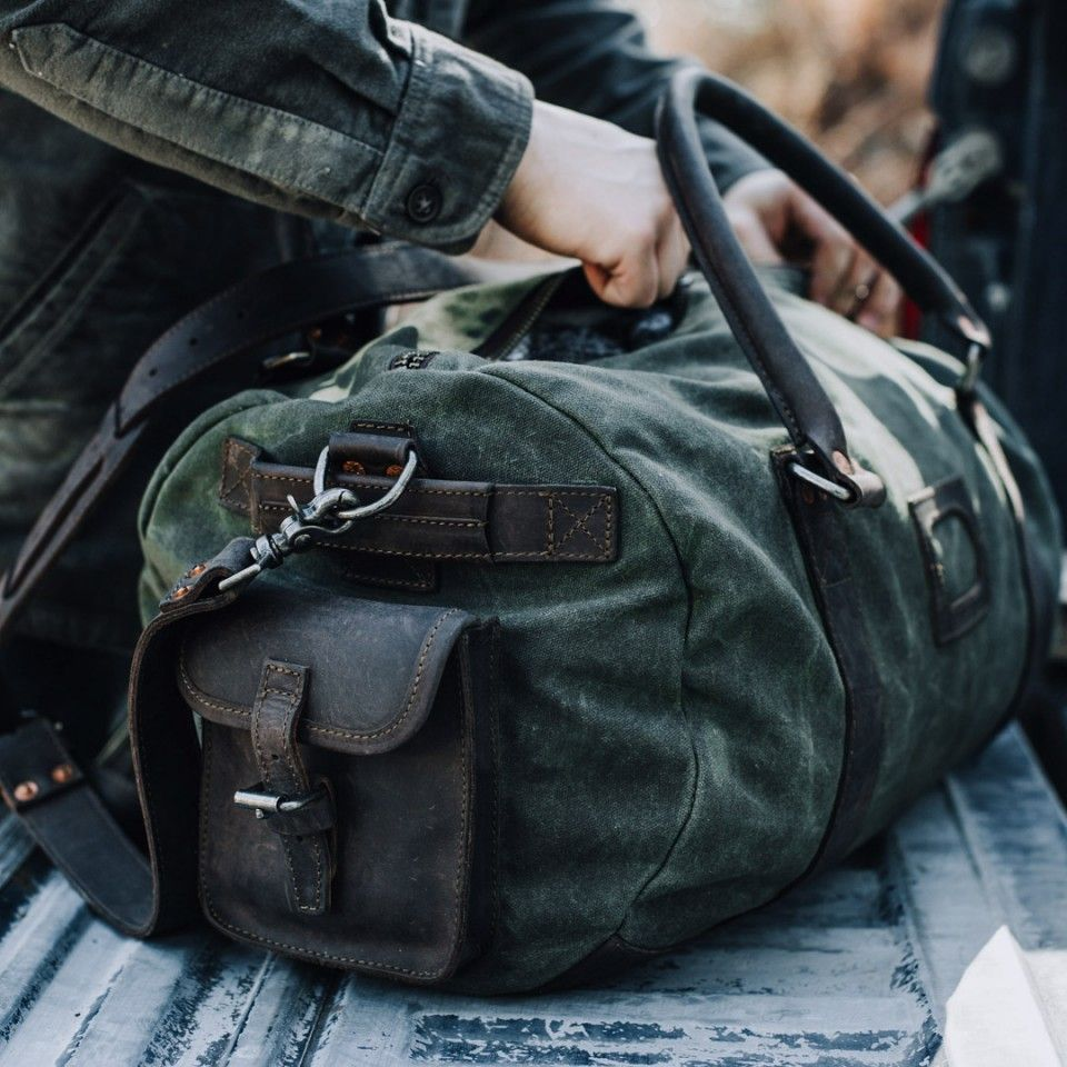 bd27ec8ef2 Elkton Waxed Canvas Travel Duffle Bag - Green w  Dark Walnut Leather ...