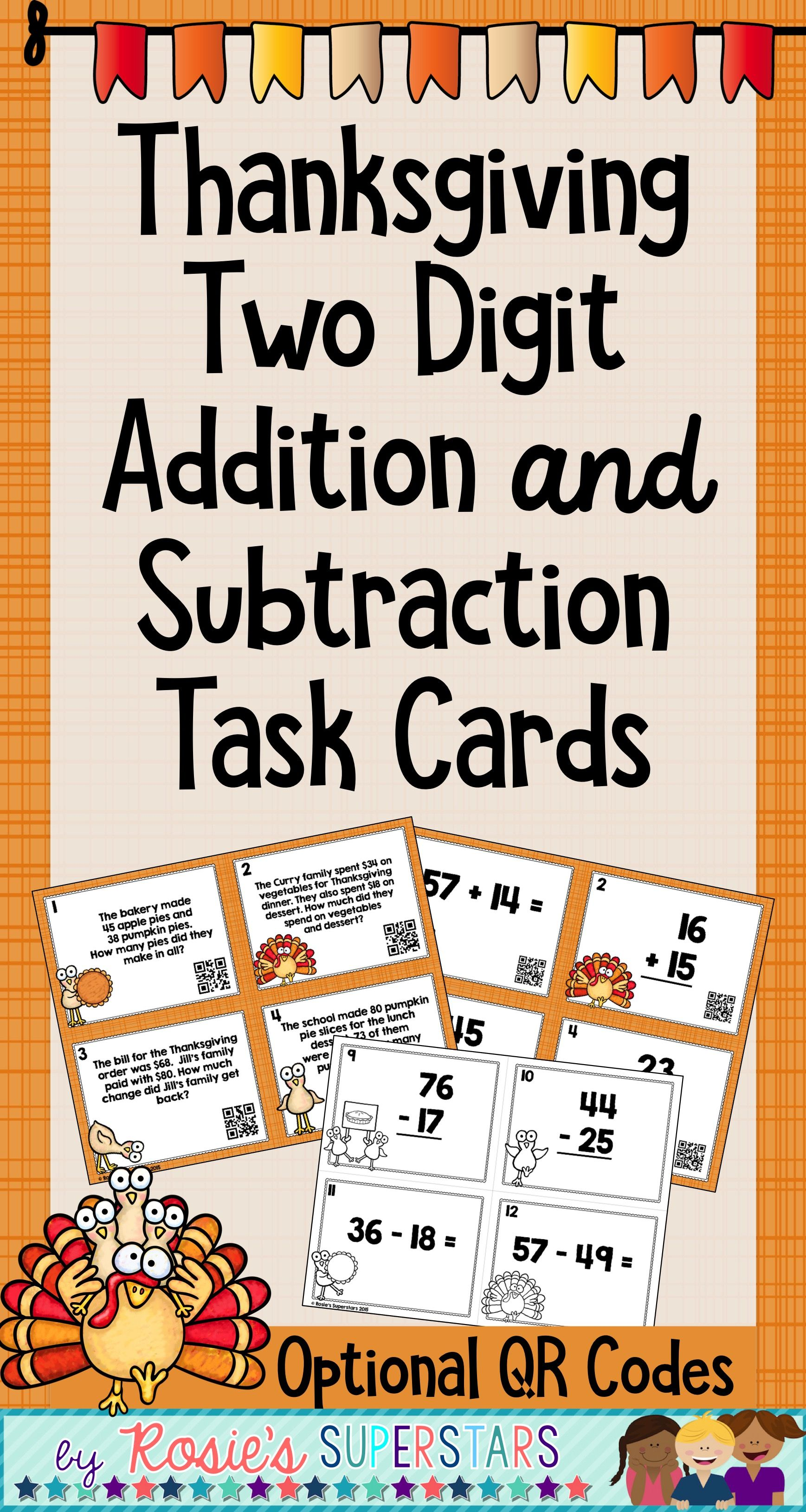 Thanksgiving Two Digit Addition And Subtraction With Regrouping Task Card Bundle Addition And Subtraction Word Problem Worksheets Math Worksheets Math videos addition and subtraction