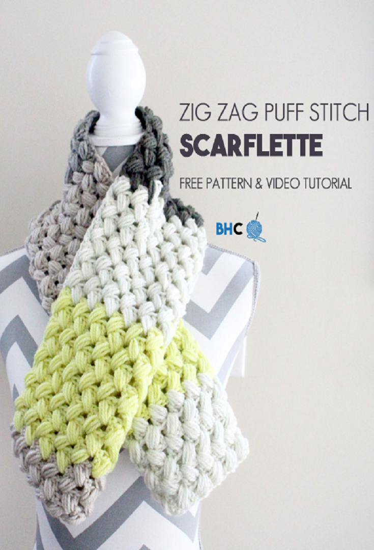 Crochet Pattern: Zig Zag Puff Stitch Scarflette | Crocheted pattern ...