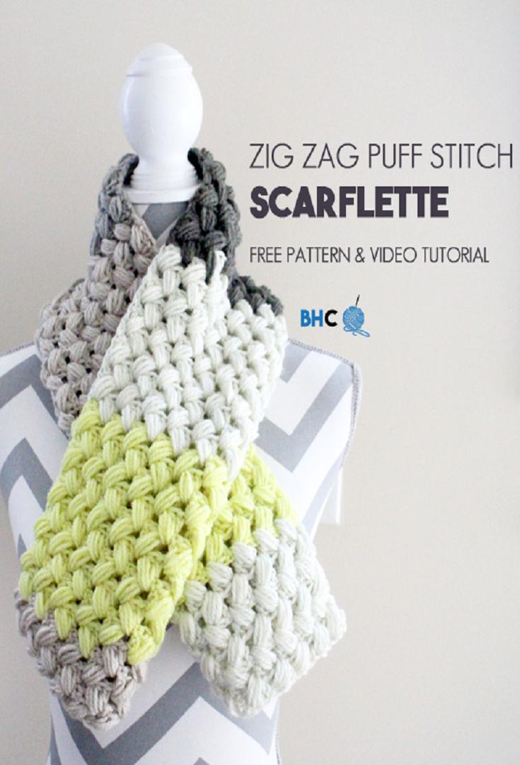 Zig Zag Puff Stitch Scarflette | Trapillo y Ganchillo
