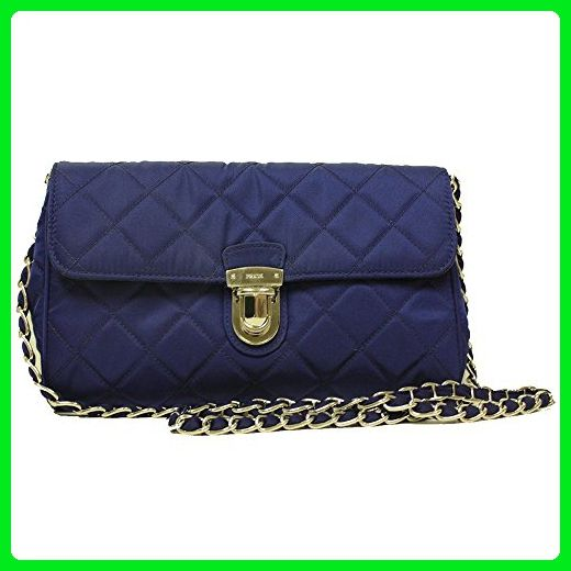 345dc83bdab Prada Royal Blue Quilted Tessuto Nylon Saffiano Leather Chain Cross ...