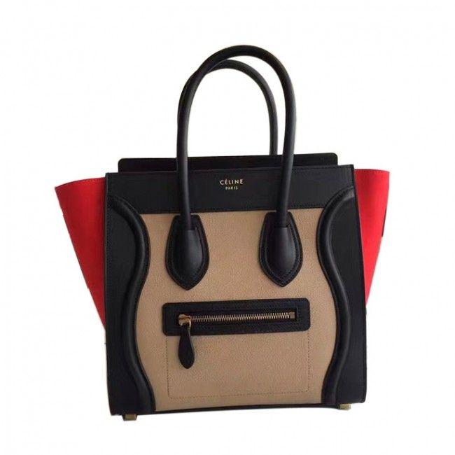 c52bd9a877 Original quality Celine new micro luggage handbag in porcelain multicolour  baby grained calfskin 167793AAC