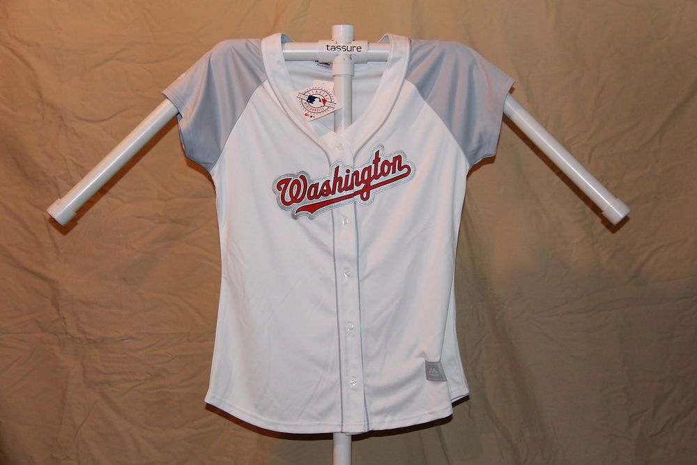 f2297d178 WASHINGTON NATIONALS Majestic sewn FASHION JERSEY Womens Large sz 14-16 NWT  wht   34.74 End Date  Wednesday Nov-14-2018 11 05 41 PST Buy It…