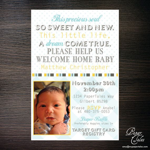 Welcome Home New Baby Shower Invitations by PaperTalesCustom ...