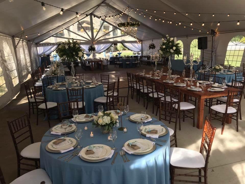 Dusty blue linens & Mahogany Chiavari Chairs Weddings by