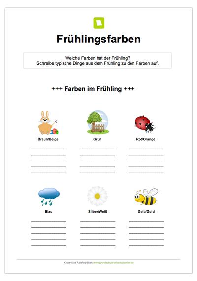 Bei diesem kostenlosen Rätsel sollen die Kinder Dinge zum Frühling ...