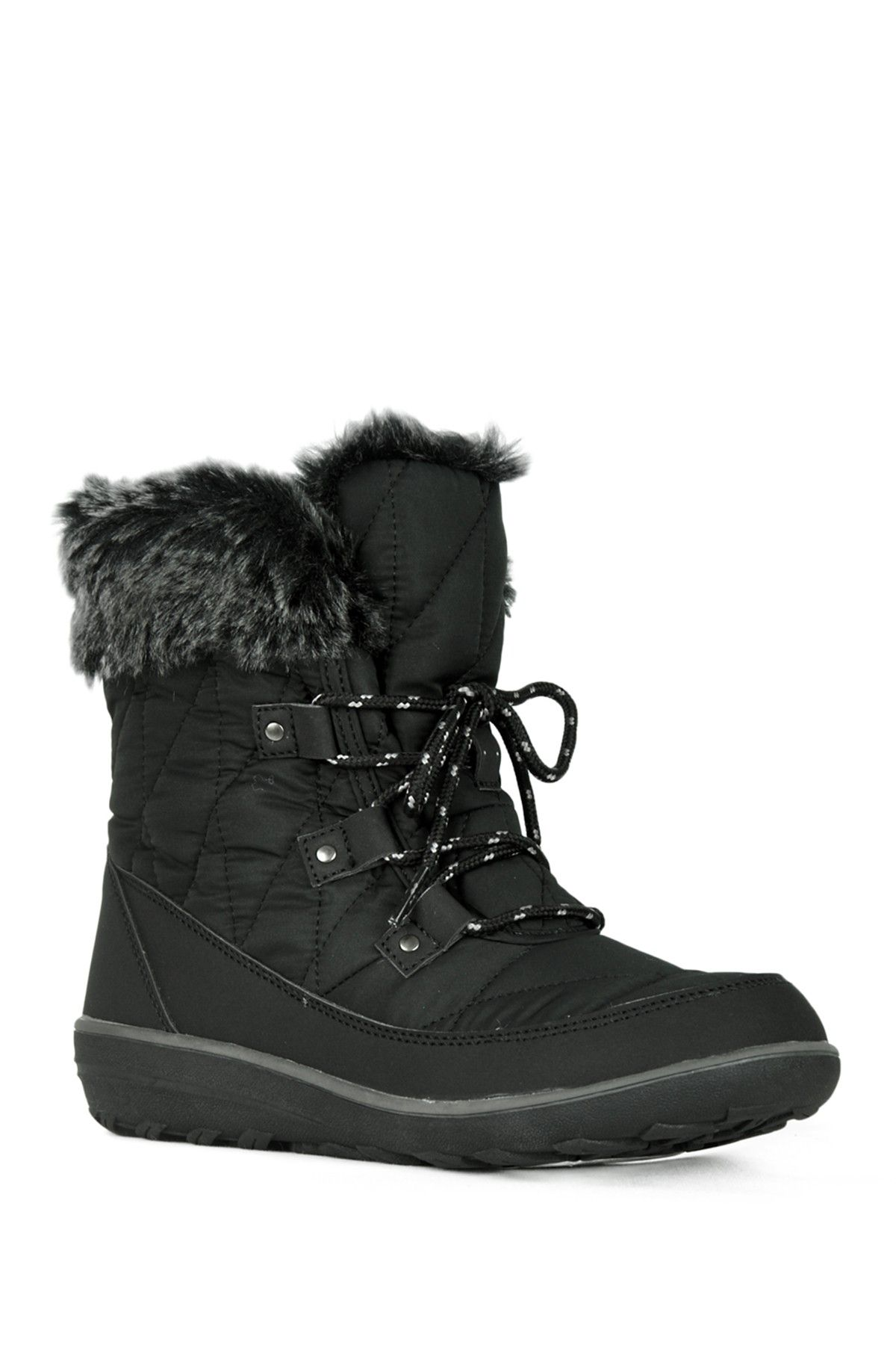 Refresh Hike Faux Fur Trim LaceUp Ankle Boot Lace up