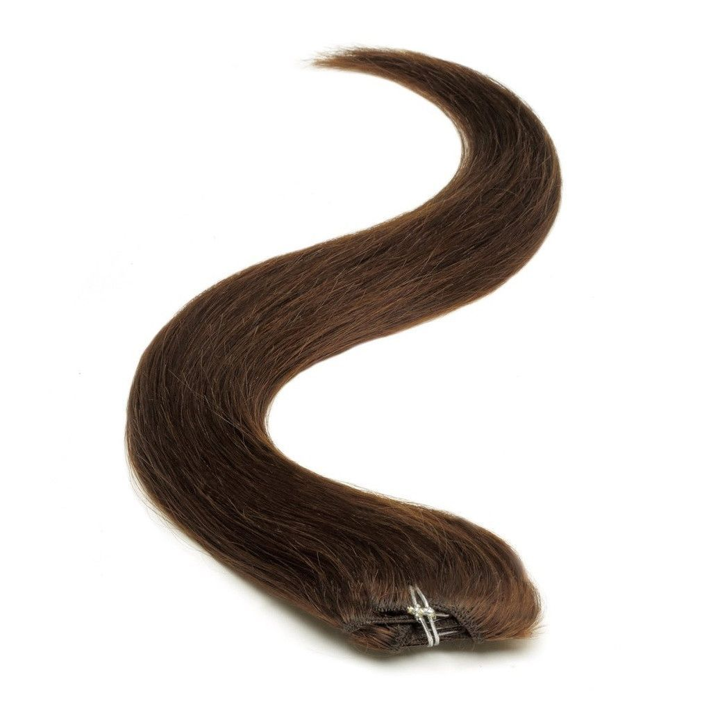Half Head Clip In Hair Extensions 18 Inch Brownest Brown 2