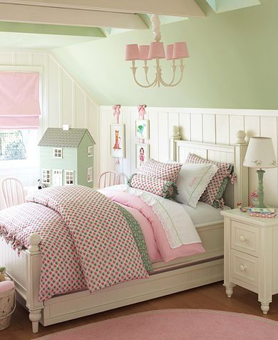 Tall Chair Rail With Hanging Artwork Girls Bedroom Green