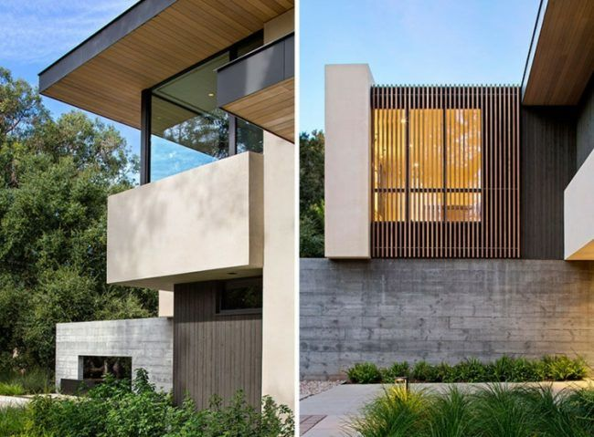 beton-wand-fassade-mauer-sonnenschutz-holzlamellen home - interieur mit holz lamellen haus design bilder