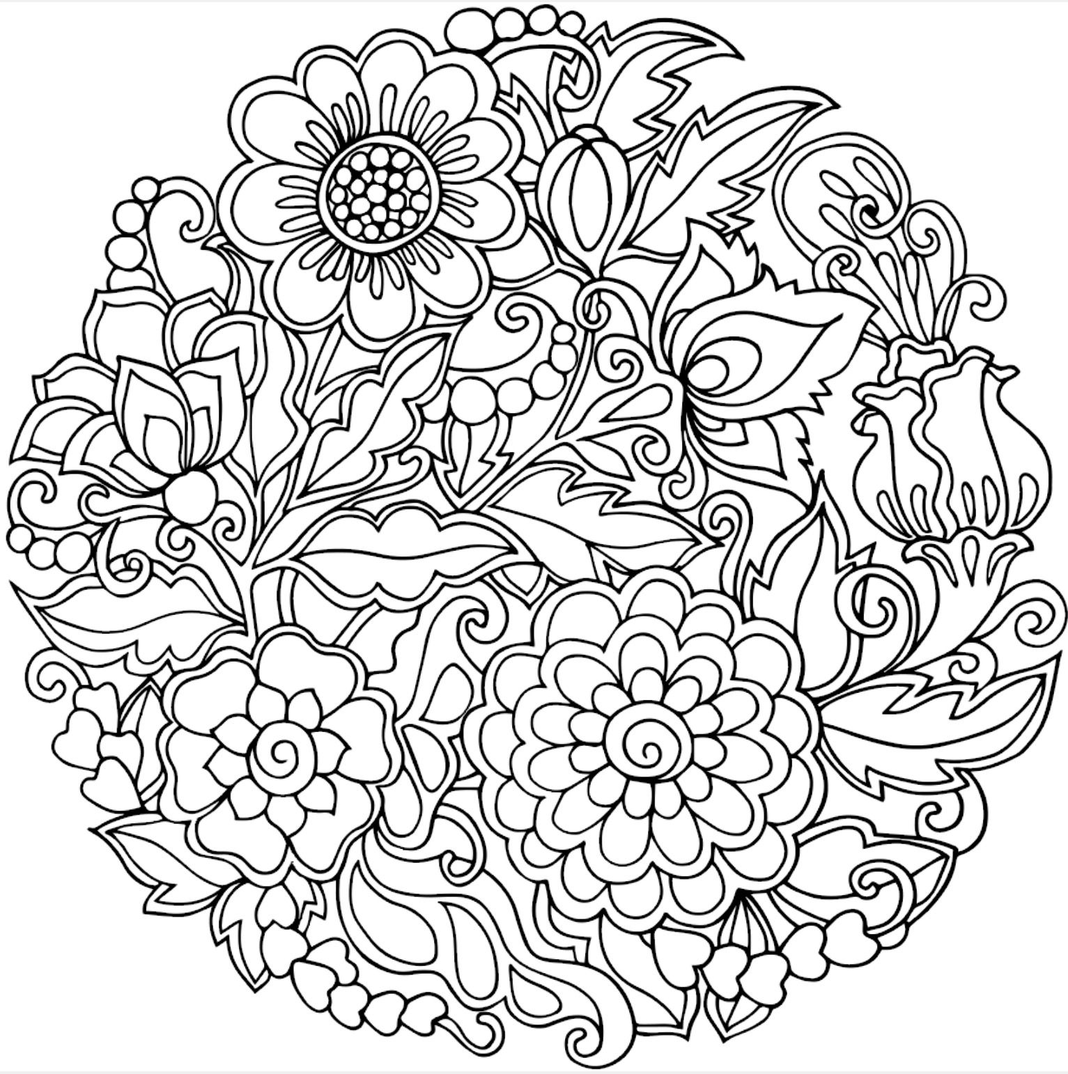 Floral circle coloring page | Colorfy app | Floral Coloring Pages ...