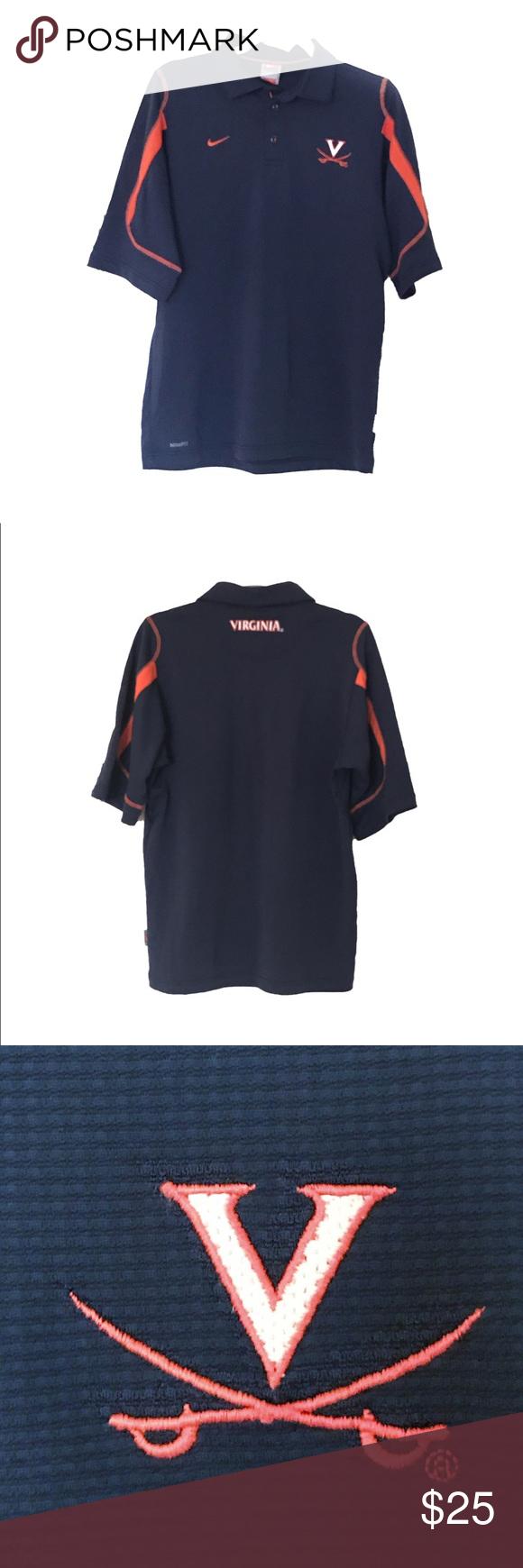 Nike Virginia Golf Shirt UVA Small 100 Polyester