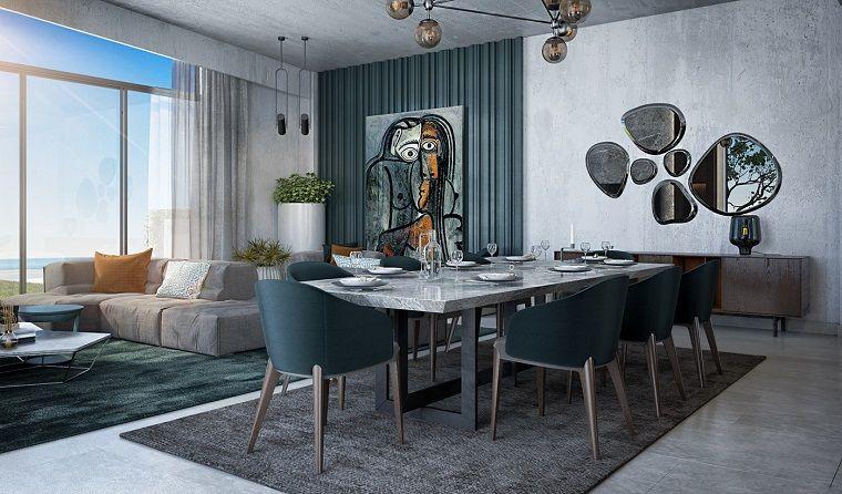 Tavolo da pranzo con sedie, pavimento con tappeti