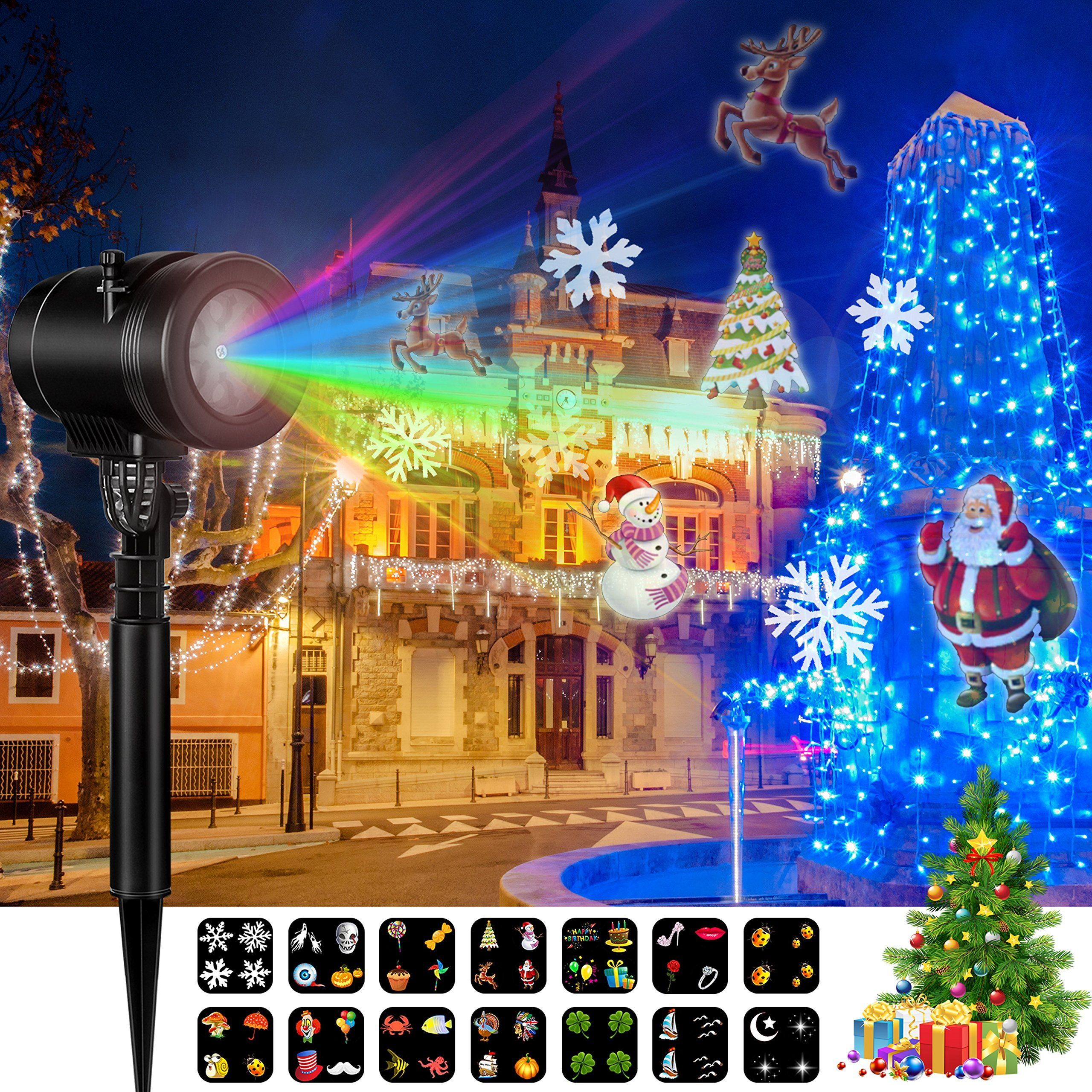christmas led projector lights goutoday newest version 14 slides bright waterproof landscape led projector spotlight - Christmas Led Projector