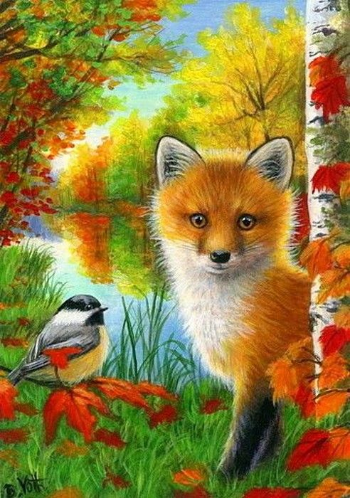 Image result for fall scene with animals