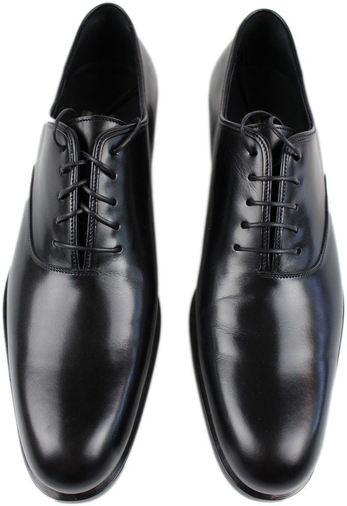 Salvatore Ferragamo Black Smooth Leather Oxford Lace Up Dress Shoe 9D Italy