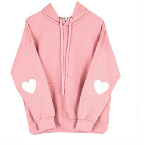 Cute Kawaii Styles Pink Pastel Heart Elbow Patch Pullover Hoodies Size...  ( 24) ❤ liked on Polyvore featuring tops 56a508bc0