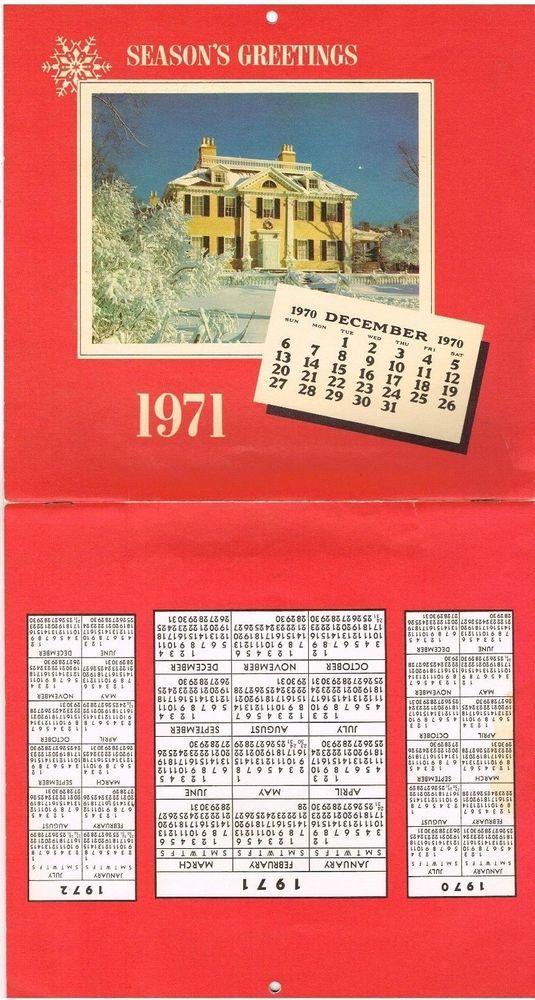 1971 Vintage Calendar Insured Home Insurance Raytown Missouri Mo