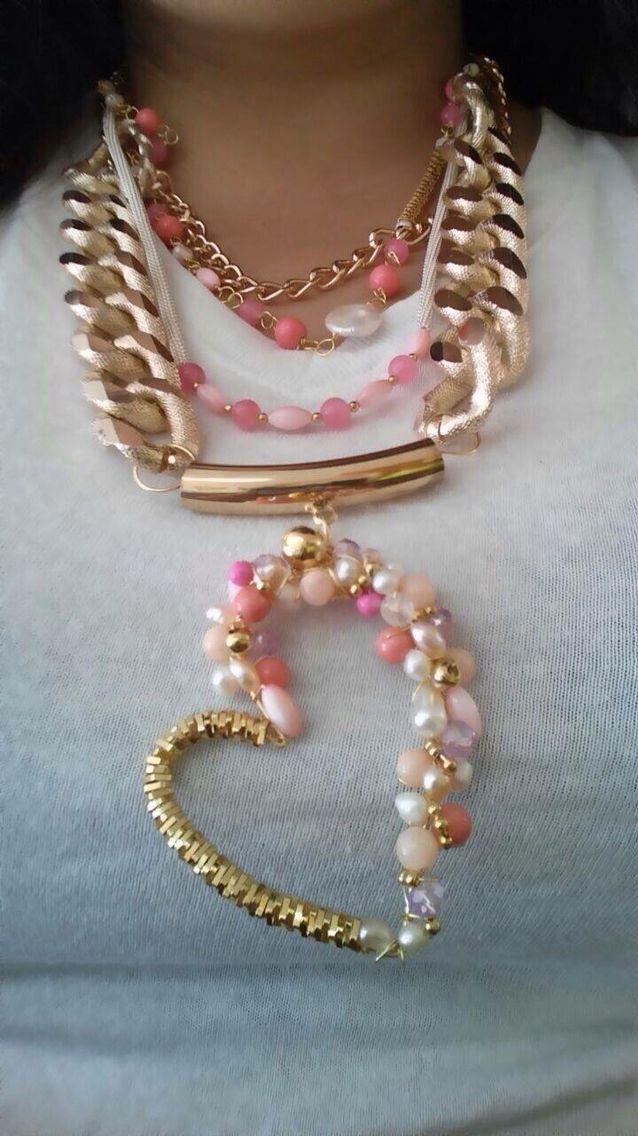 b3ecea3b2c24 Collar grande chapa de oro   collares   Collares, Collares grandes y ...