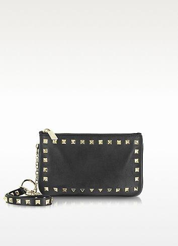 Valentino Garavani Rockstud Black Leather Mini Case w/Wristlet