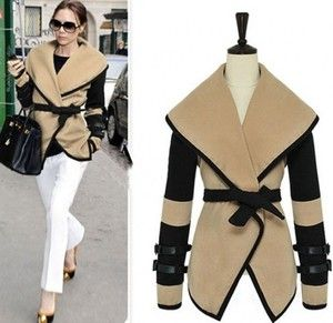 New Womens Ladies Turn-down Collar Big Lapel Belted Jacket Coat Outerwear Tops