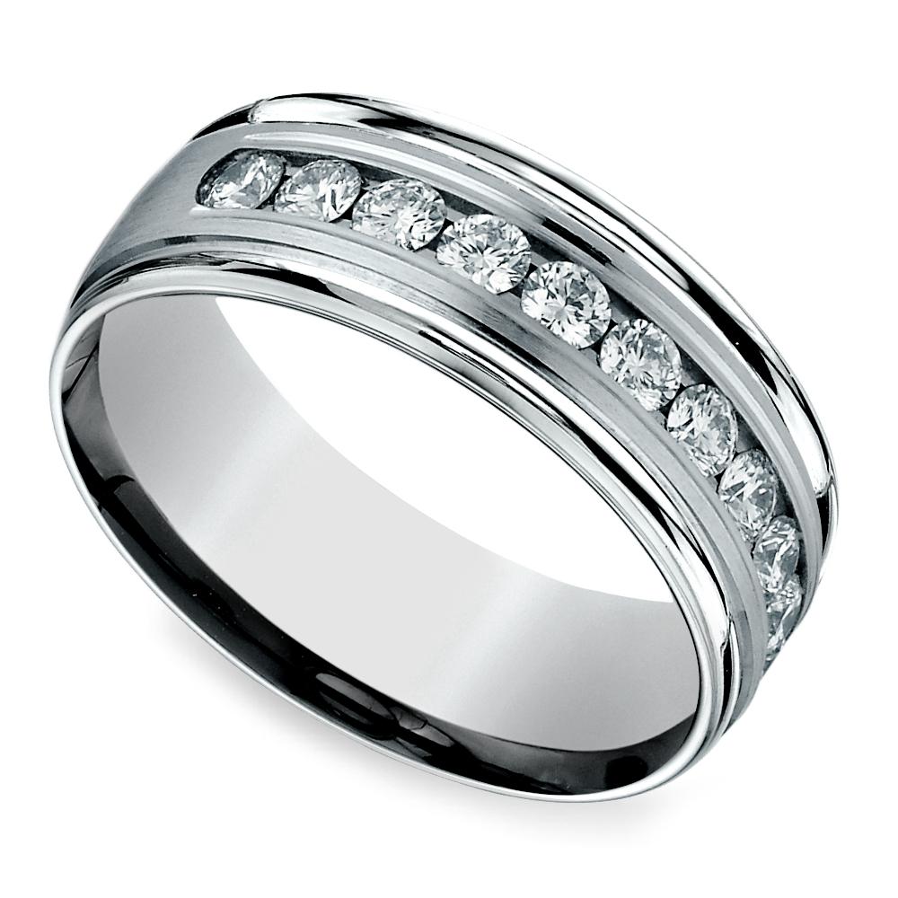 Channel Diamond Men's Wedding Ring in Platinum (8mm
