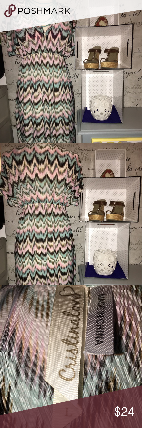 **Last price drop** multicolored chevron dress. Adorable and funky! It depends on how you want to accessorize it. I sold another one of these a few weeks ago and it was very popular! This dress won't last long. 😊✨ Cristinalove Dresses Midi