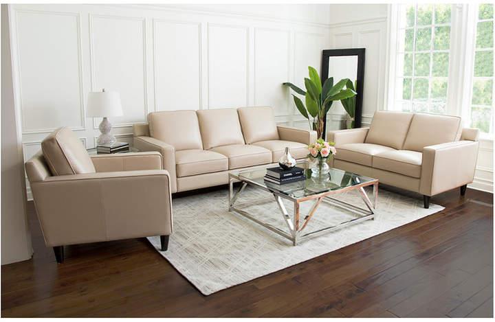 Abbyson Living Milton 3 Piece Top Grain Leather Sofa Leather Living Room Set Living Room Leather Living Room Sets