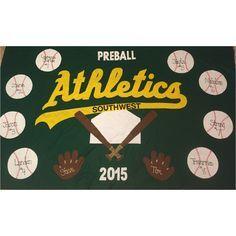 Baseball team banner made from felt. Athletics teeball tball baseball banner