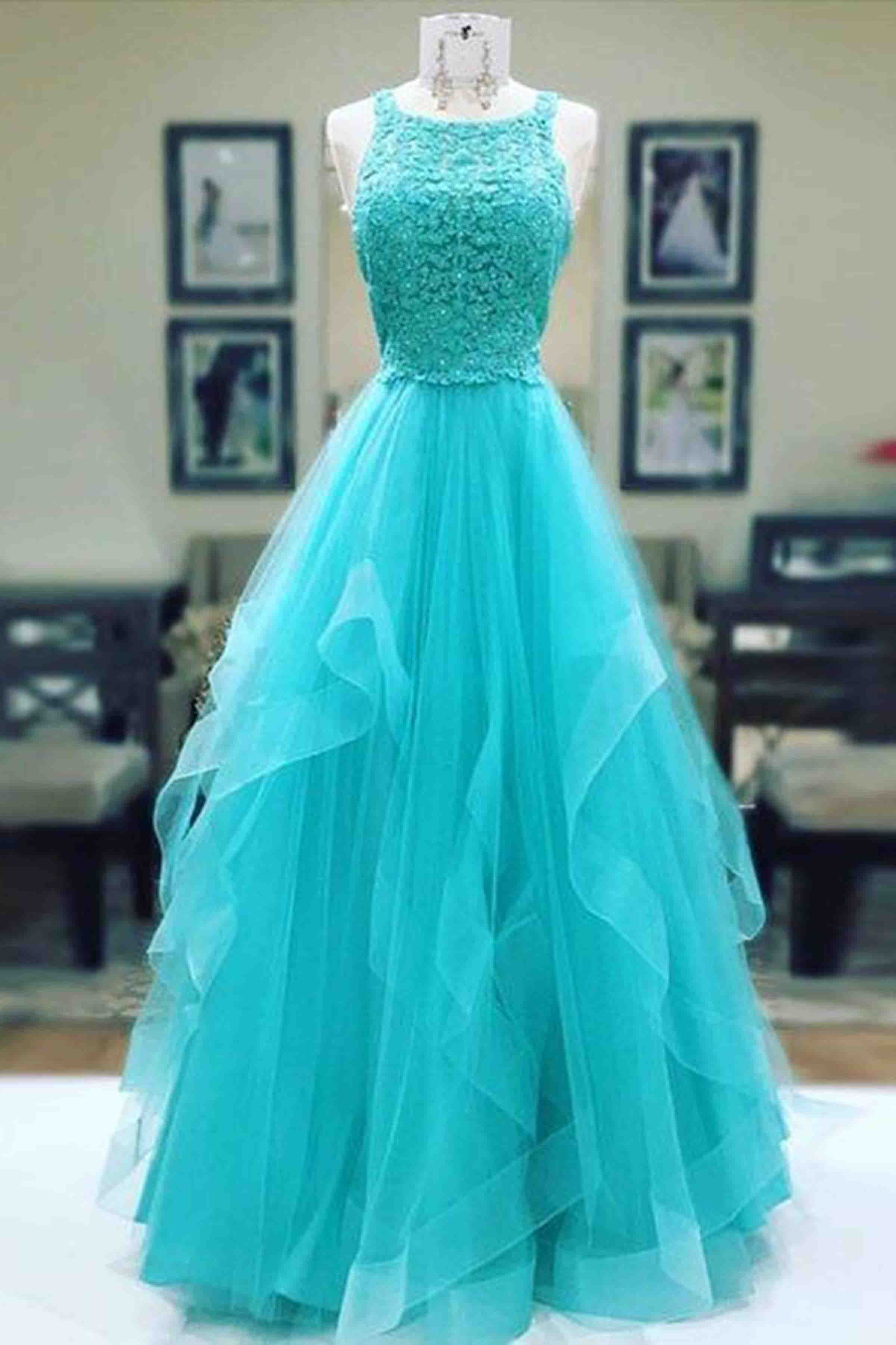 Blue tulle lace top round neck A-line long dress,prom dress for ...