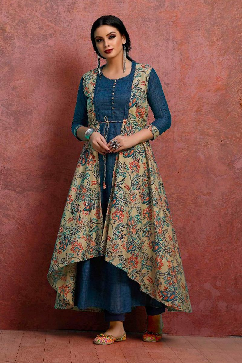 a441f5a3a2 Blue-Simple-Casual-Wear-Cotton-Long-Gown-Style-Kurti-With-Printed ...