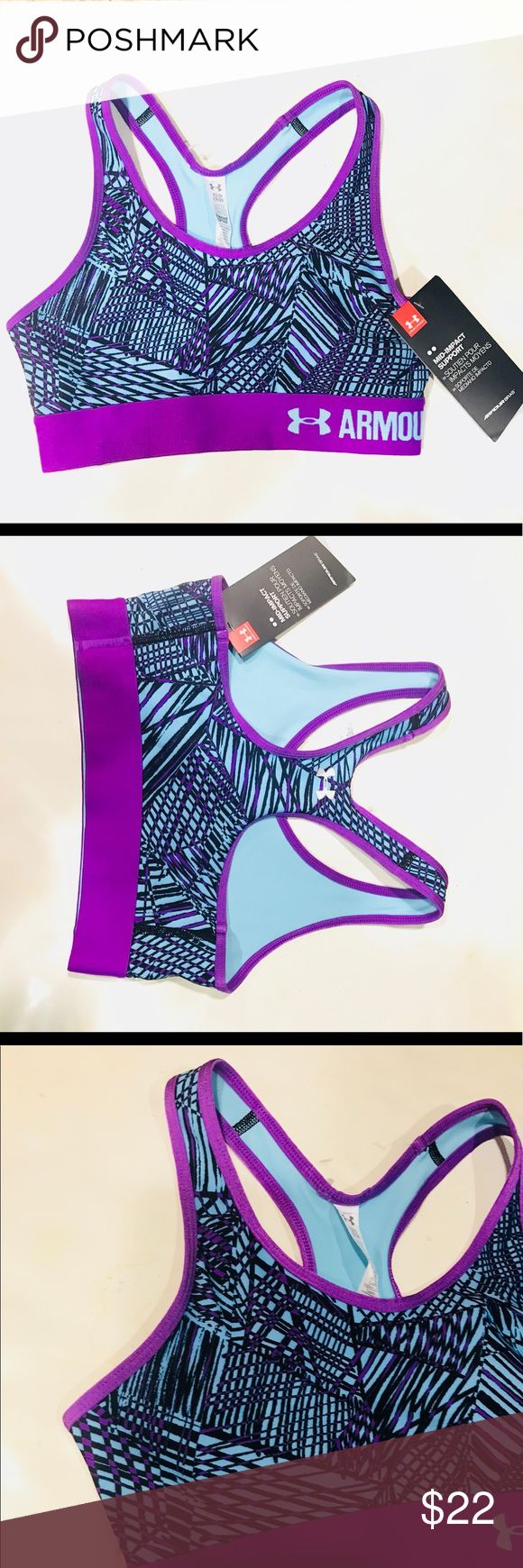 088fb4ede4 Under Armour Womens Mid Pact Support Sports Bra XS BRAND NEW WITH TAGS  UNDER ARMOUR MID IMPACT SUPPORT SPORTS BRA SIZE XS GORGEOUS FUNNNN COLORS  Under ...