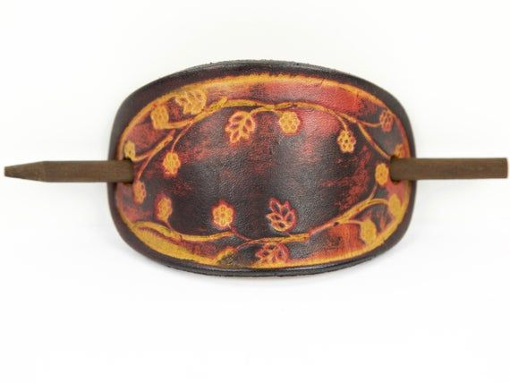 Photo of Flower Print Stick Barrette – Floral Leather Hair Pin – Leather Hair Slide – Hippie Hair Accessory –