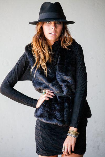 Black Fur Vest. Size L