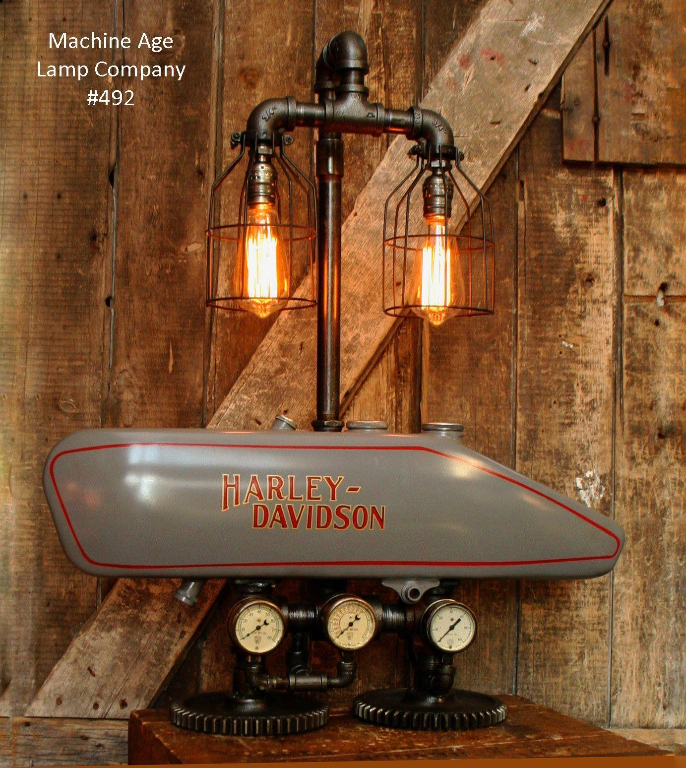 Steampunk Industrial Lamp, 1916 Antique Harley Davidson Motorcycle Gas Tank  Light   Lamp #492